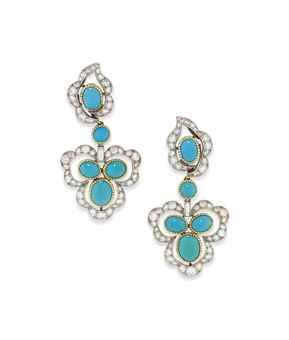 A PAIR OF MID 20TH CENTURY TURQUOISE AND DIAMOND EAR PENDANTS, BY CARTIER