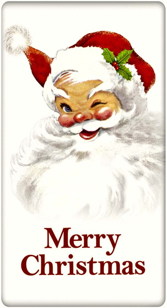 Merry Christmas Santa Claus 100% Cotton Flour Sack Dish Towel Tea Towel