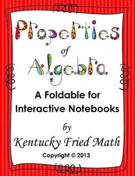 A great foldable about Algebraic Properties! $