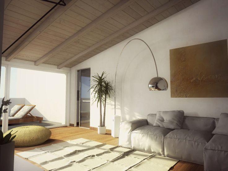 Ecco il progetto in 3D di una mansarda ricavata nel sottotetto di un edificio. Perfetta per una famiglia di tre persone, ha soggiorno, cucina separata ma aperta sul living, due camere e due bagni. E una bella terrazza per godersi la bella stagione e il panorama dall'alto.