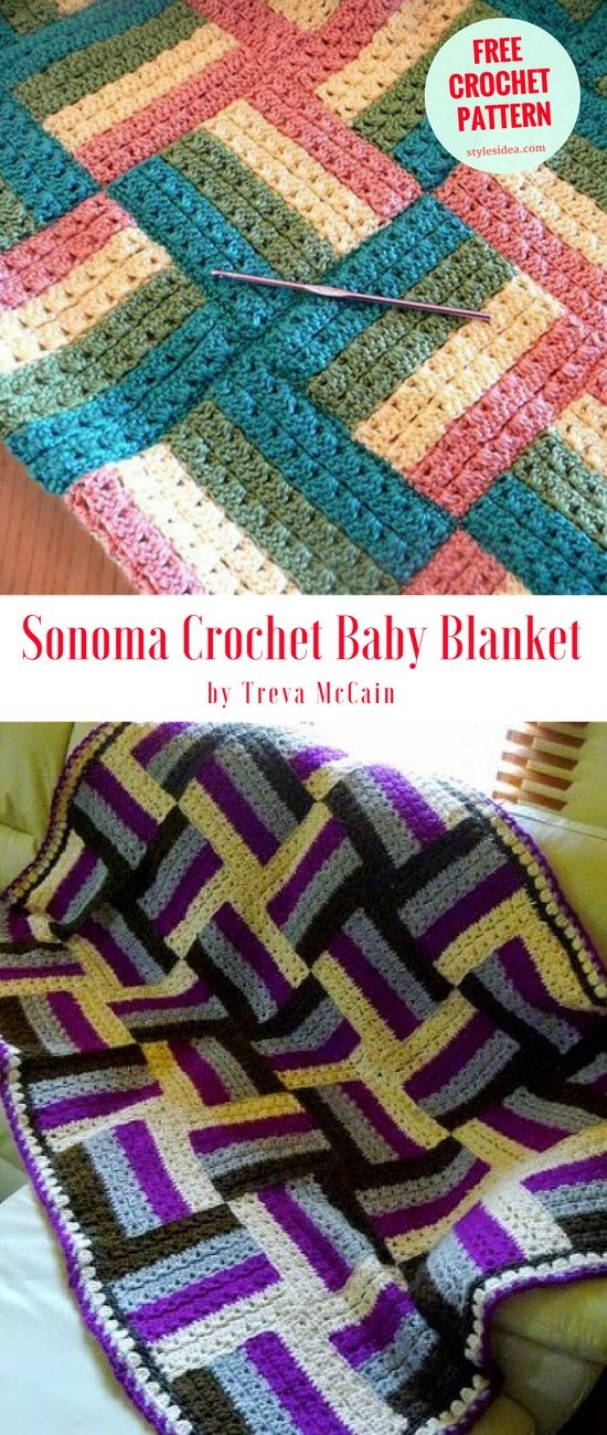 """Sonoma Crochet Baby Blanket - Fantastic baby blanket with measurements cca 29"""" (73.5 cm) wide and 38"""" (96.5 cm) long with perfect border #crochet #crochetpattern"""