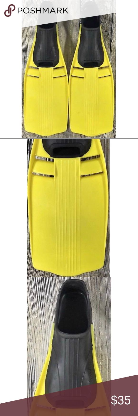 """US Divers Scuba Diving Snorkel Fins Mens US Divers Scuba Diving Snorkel Fins Mens Yellow Black Size US 10-11 Large Rubber. Pre owned in great condition with no cracks, holes or tears. There are normal scratches on the fins from use. The fins measure 23"""" in total length and 10.5"""" from heel to toe. US Divers Accessories"""