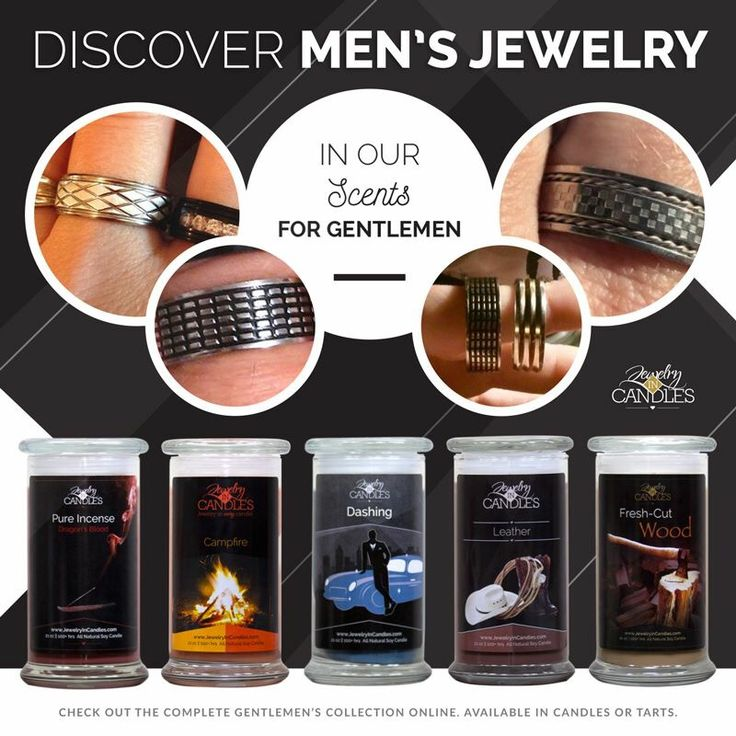 Men love Jewelry In Candles too!  Discover unique men's jewelry in any of one of these irresistible fragrances. Which manly scent is your favorite?  Shop the full Gentleman's collection!  #mensjewelry #mancandles #lovejic