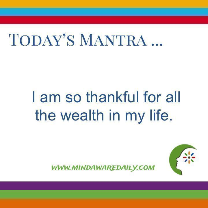 Today's #Mantra. . . I am so thankful for all the wealth in my life. #affirmation #trainyourbrain #ltg Get your daily mantra here