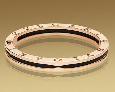 bulgari bracelet in pink gold with black ceramic