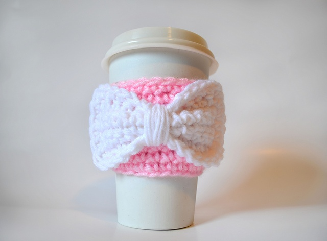 Ravelry: Bow or Mustache Coffee Cup Cozy pattern by Sarah C Lewis