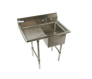 "Quality Commercial Kitchen Equipment - Economy Stainless 1 Well Sink w/24"" drainboard L"