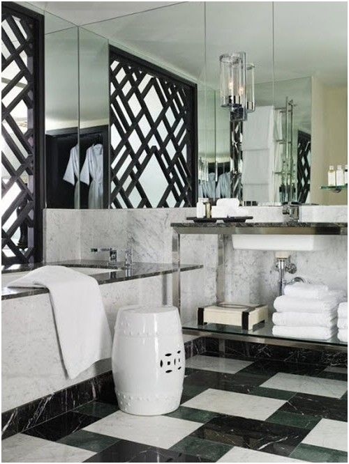 awesome Lovely Black and White Marble Tile Bathroom