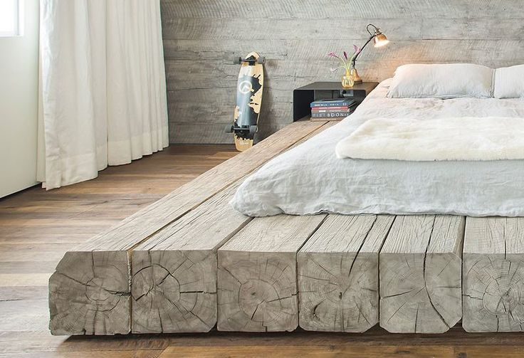 Design Detail – A platform bed made using reclaimed logs                                                                                                                                                                                 More