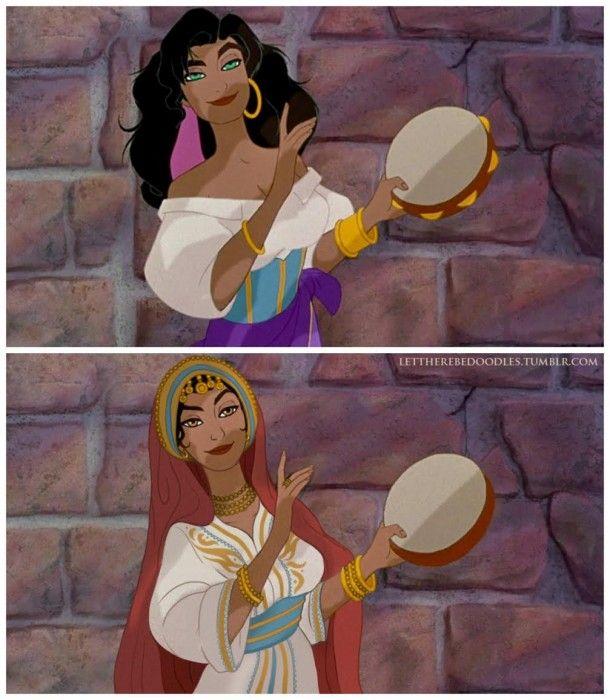 princesa del jorobado de notre dame, con el aspecto de una bella marroquí