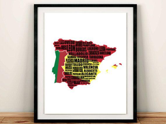 "Map of Spain, Spain Map, Mapa de Espana, Spanish Flag, Typography map, Instant Download, Wall Art, Spanish Flag, 8x10"", 11x14"", 16x20"""