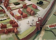 Worcester city walls -Reconstruction of St Martin's Gate in 1250, viewed from the south