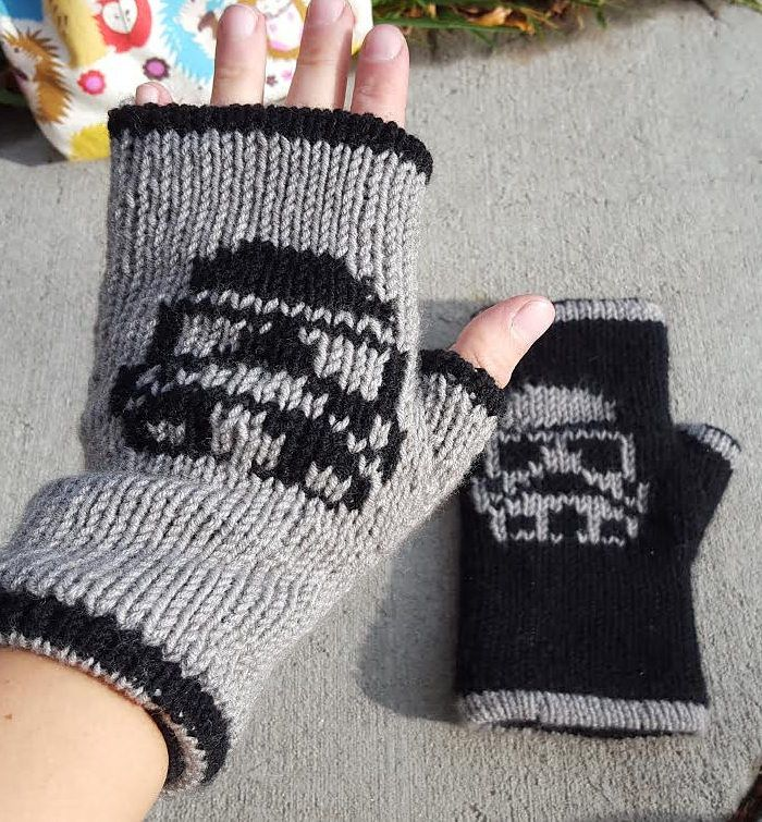 Free Knitting Pattern for Storm Trooper Mitts - Star Wars inspired fingerless mitts that are double knit. Designed by Northbound Studio