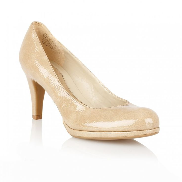 Naturalizer Shoes Lennox Taupe Patent Shiny Court Shoes
