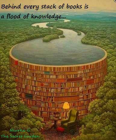"""Behind every stack of books is a flood of knowledge."" -Niurka G. [385x466] - Imgur"