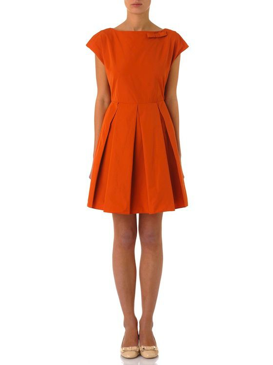 burnt orange fifties style dress with bow by Tara Jarmon