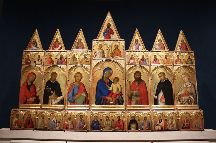 Simone Martini  - Polittico di Santa Caterina d'Alessandria (Polittico di Pisa) - raffigura ben 43 santi e personaggi - tempera e oro su tavola - 1319 - Pisa, Museo Nazionale di San Matteo.