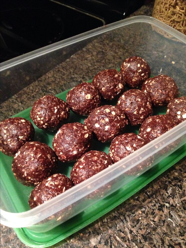 Power Balls!                                                        1 cup of raw oatmeal                                      1/4 cup of cocoa                                              1/2 cup of natural peanut butter                      1/2 cup of flax seed powder                            1/4 cup of honey                                              1tsp of vanilla  Perfect mid afternoon snack or for pre-workout. High Protein, Rich, filling and healthy.   I'll only have 1 or 2 a day.