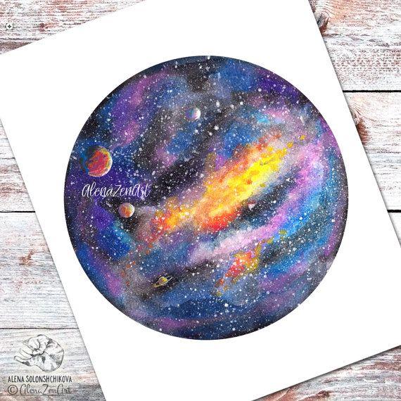 Galaxy print art watercolor Outer space decor by AlenaZenArt