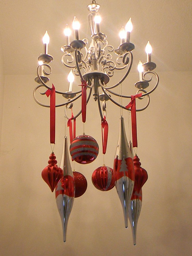 19 best christmas decorating images on pinterest for Hanging ornaments from chandelier