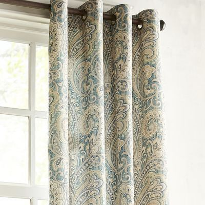 Seasons Paisley Curtain - Teal 84