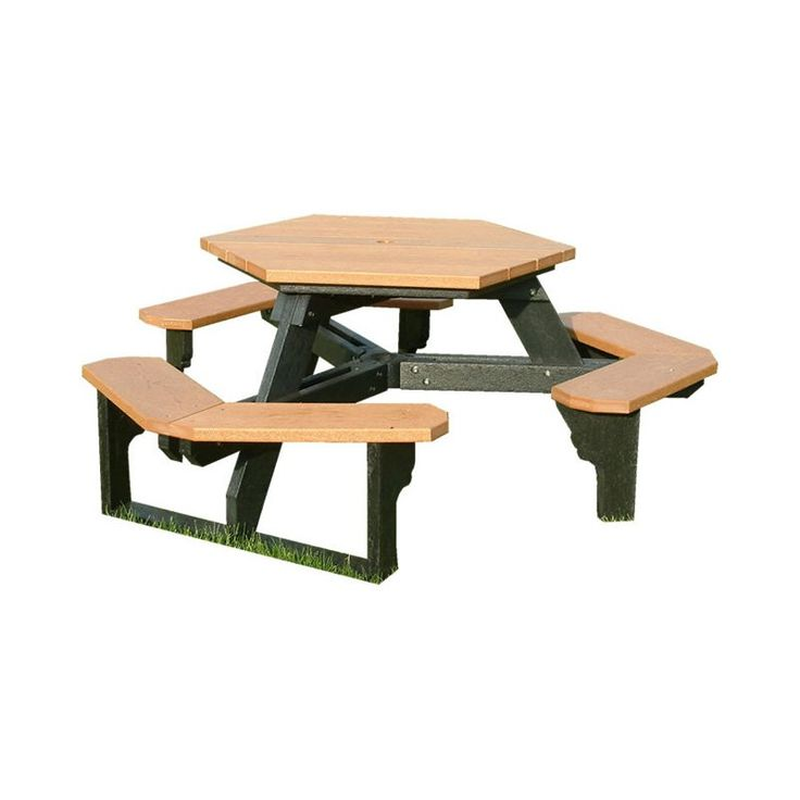 Outdoor Polly Products Open Hexagon Recycled Plastic Picnic Table Black Sand - ASM-OHT-02-BLACK FRM-SAND TOP-QKSHIP