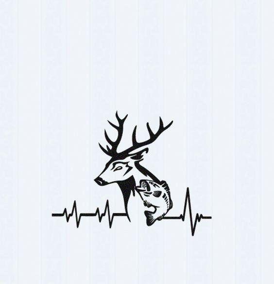 Deer and Bass Fishing Heartbeat Vinyl Fishing Decal 22