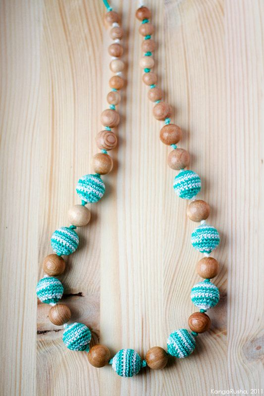 Organic Teething necklace Nursing necklace teether in mint green $24.00, via Etsy.