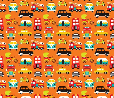 Fun boys cars fire truck and retro traffic illustration print fabric by littlesmilemakers on Spoonflower - custom fabric