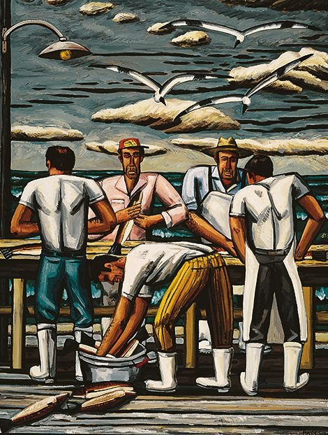 'The Cleaning Table' (1990) by American artist David Bates (b.1952). Oil on canvas, 84 x 64 in. source: Arthur Roger Gallery. via Garden and Gun.