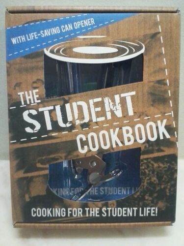Cookbook the Student cookbook & Can opener  New in box The Student Cookbook. Cooking for the student life. With life-saving can opener new in box. Leaving the comforts of home and venturing into this world can be a daunting experience but the real wake up call when's you cook for yourself. The student cookbook is the essential guide to cooking even with the most basic cooking a repertoire of easy recipes. New purchased for resale by Keywebco Video inspected during shipping Shipped fast and…