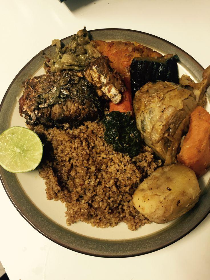 Malian food, Zamai, riz gras , fried rice with blue fish