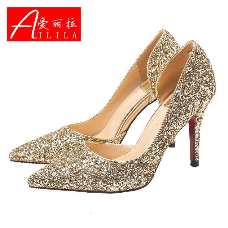 Nouveaux hiver bouche peu profonde avec une amende femme mariée rouge chaussures de mariage chaussures à talons hauts chaussures de demoiselle d'honneur or paillettes dans Ballerines pour femmes de Chaussures sur AliExpress.com | Alibaba Group