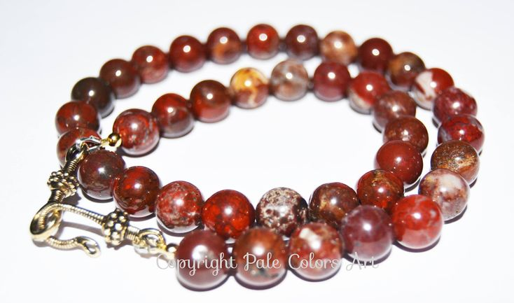 "18"" Red 10mm Jasper Stone Bead Necklace,Burgundy Wine Red Necklace,Red Jasper Necklace,Semiprecious Red Necklace,Dark Red Jasper Necklace"