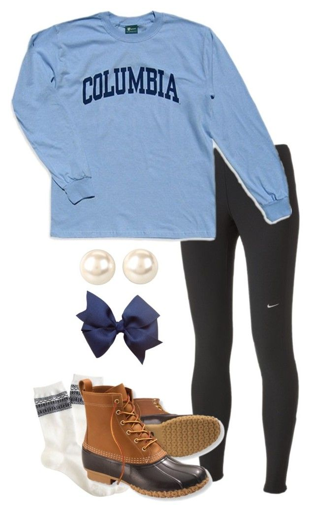 """""""Columbia Spring."""" by pollybee ❤ liked on Polyvore featuring NIKE, J.Crew, Columbia, L.L.Bean, Nina and southernprep"""