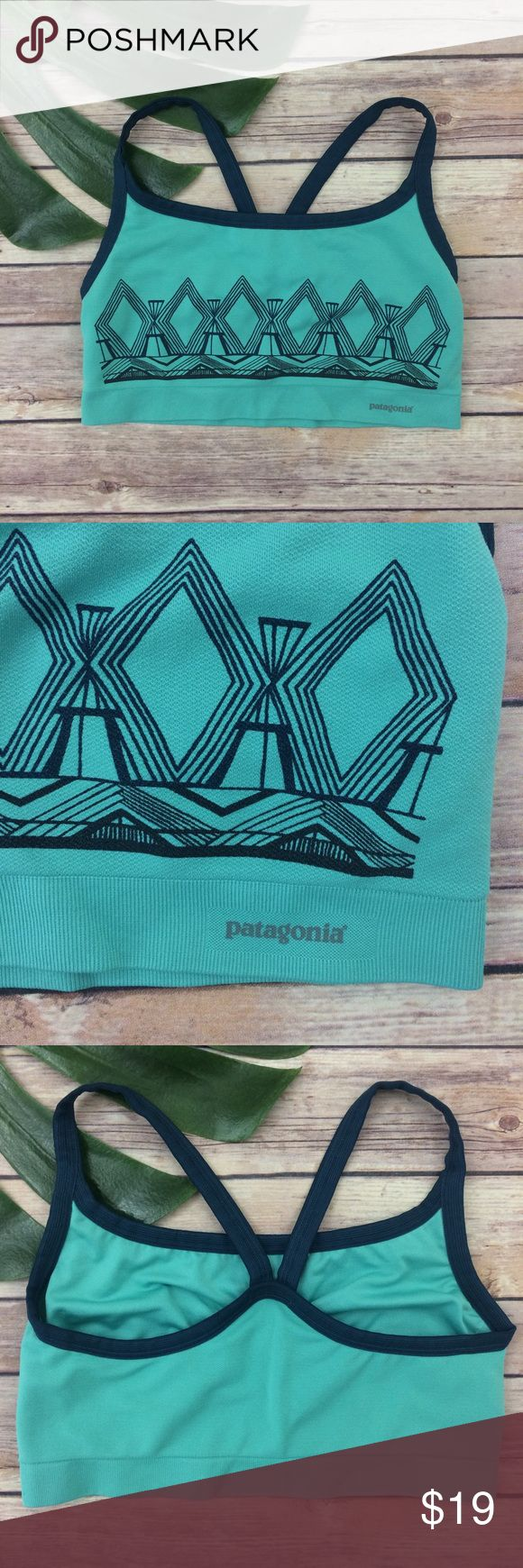 Patagonia teal green sports bra Patagonia teal sports bra, size M. It is free from any rips or stains. It measures about 24 inches around the band. Patagonia Intimates & Sleepwear Bras