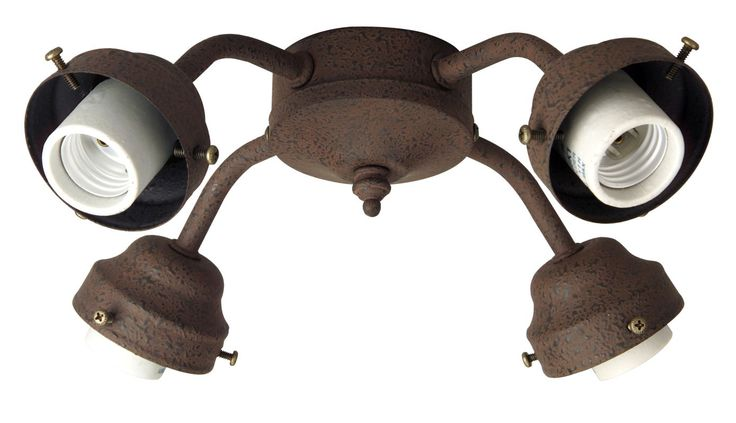 Craftmade F400CFL Four Light Ceiling Fan Fitter Rustic Iron Ceiling Fan Accessories Light Kits Light Kits