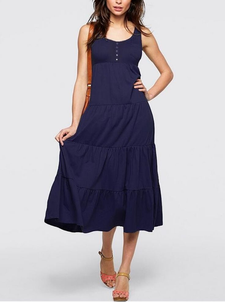 Navy Blue Casual Sleeveless U Collar Button Detail Tiered Beach Dress
