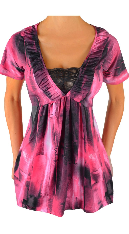 Funfash Plus Size Pink Black Lace Womens Empire Waist Womens Top Shirt
