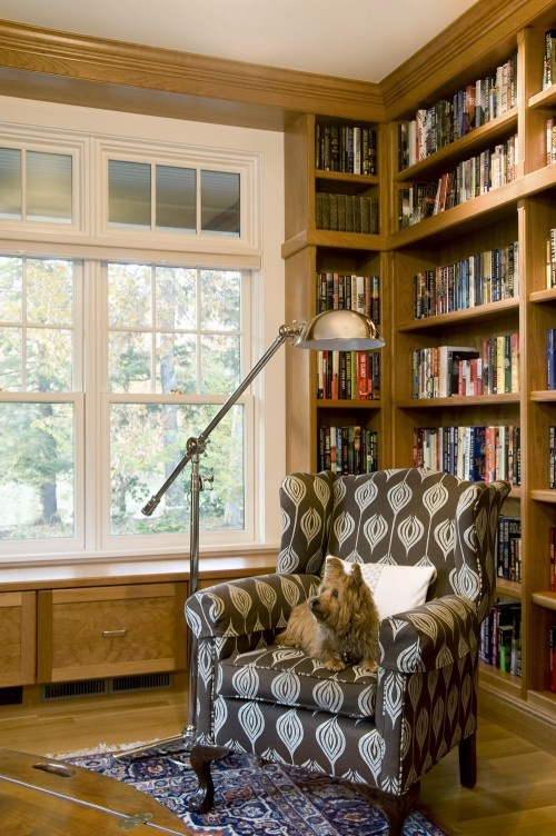 Cute chair, cute dog!: Bookshelf Design, Architecture Interiors, Corner Bookshelves, Libraries Design, Reading Chairs, Media Rooms, Wingback Chairs, Home Offices, Lda Architecture