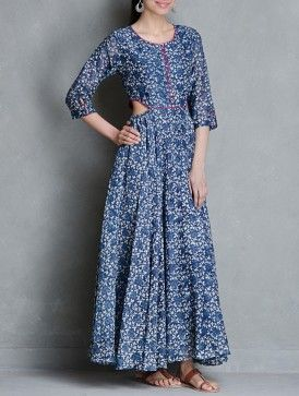 Indigo Block Printed Elasticated Waist Flare Cotton Dress by Raiman Sethi