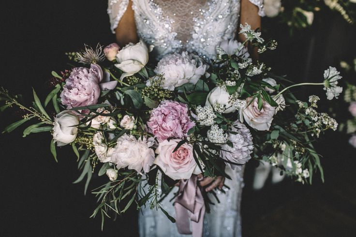 Peony Wedding Bouquet featuring peonies and David Austin Roses Hand tied with hand dyed silk ribbon. Images From Carrie Lavers Photography
