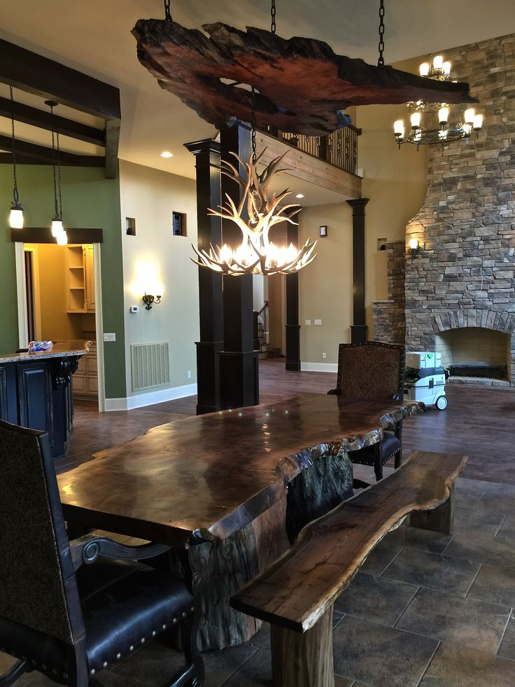 beautiful table bench and chandelier - Stone Slab Dining Room Decorating