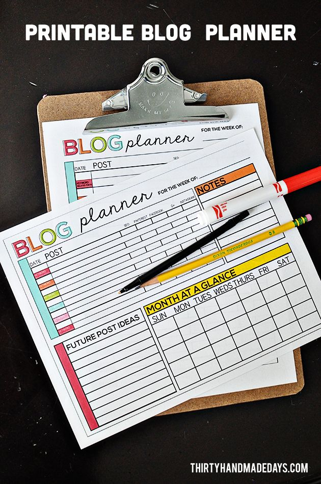 Printable Blog Planner - easy way to get on track with your blog.  Includes an Excel spreadsheet for a computer version.