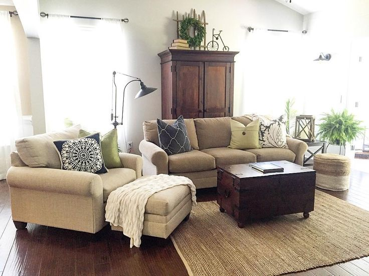 Living Room Farmhouse With Color Green Tan White Walls