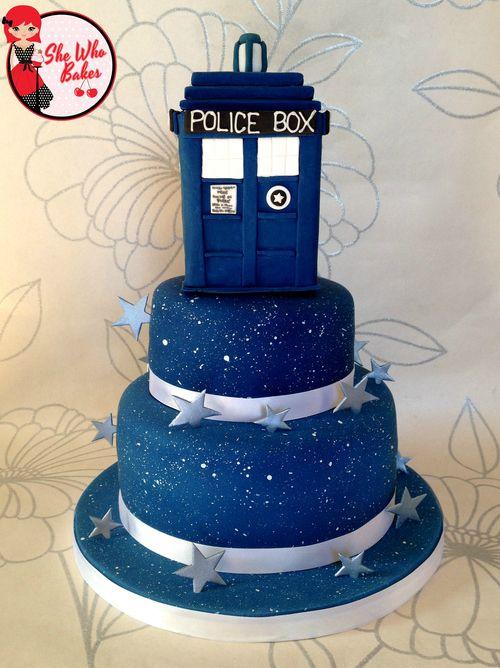 Doctor Who TARDIS birthday cake.