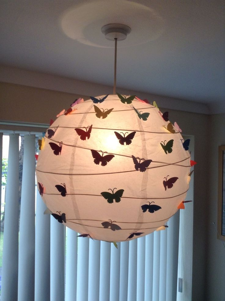 Upcycled Ikea paper lantern covered in decorated butterflies | eBay