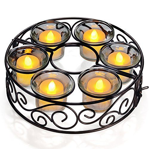 Candle Holders, TOTOBAY Round Black Wrought Iron Table Candlestick Centerpiece with 6 Votive Glass Cups for Indoor Outdoor Patio Umbrellas Table( Candle Not Included )  Made of wrought iron in black finish,powder coated rust resistant finish.  Comes with 6 Glass Cups, randomly put into different kinds of candle that you like.  Dimensions: The whole round candle holders 8.27in diameter x 2.36in high; The middle circular: 2.68 in diameter.  Equipped with a small iron buckle, you could di...