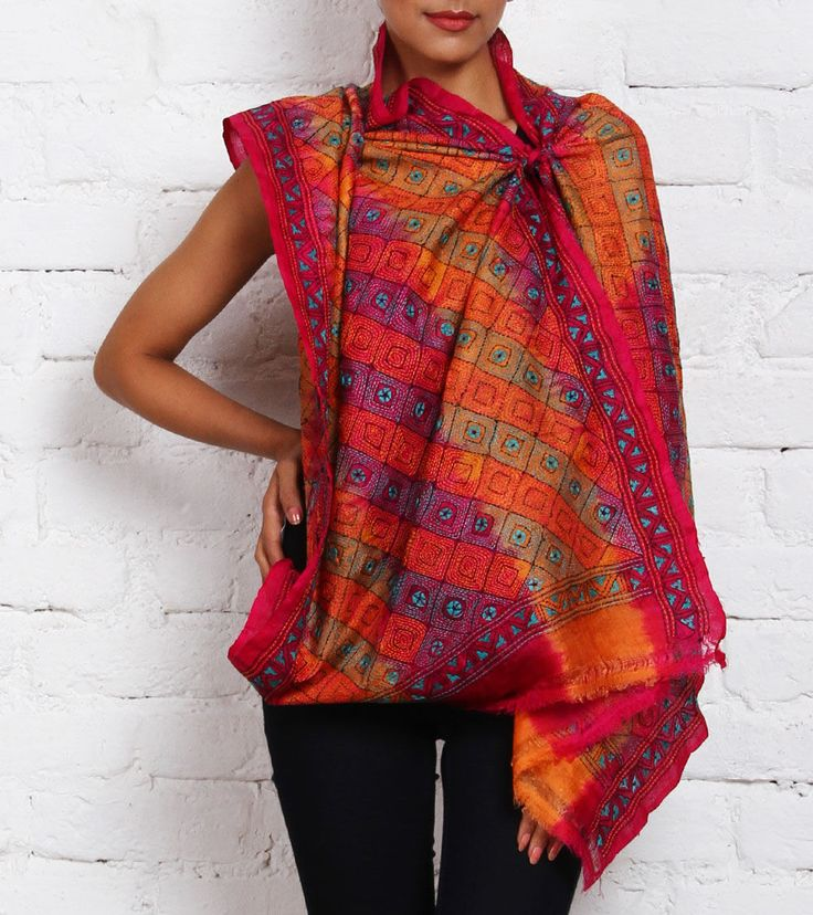 Multicoloured Tussar and Muga Silk Stole with Kantha