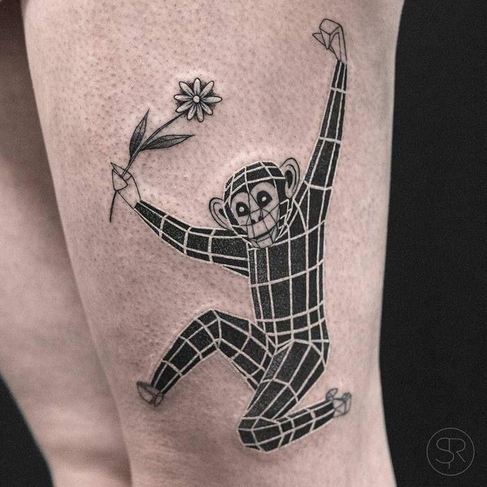 Geometric Monkey Tattoo By Sven Rayen